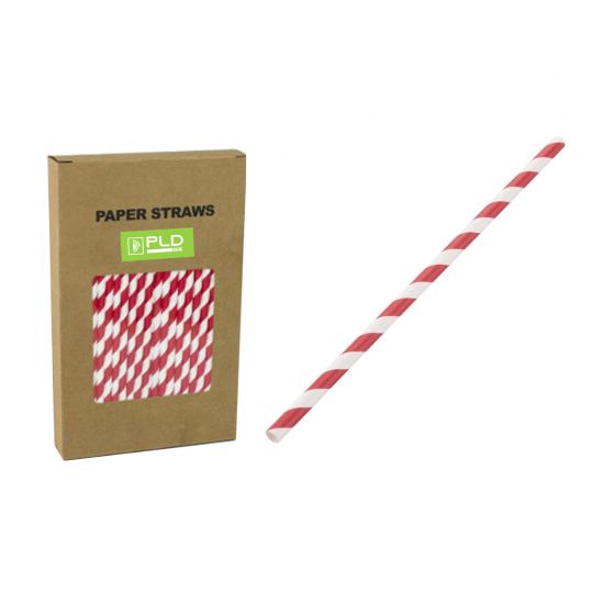 Paper straw red stripe 8 MM X 240 MM