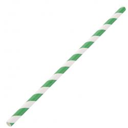 Paper straw green stripe 8 MM X 240 MM